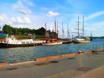 Schoner, Boote, Boote auf dem Pier norwegen Sommer 2012 Lizenzfreies Stockfoto