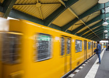 Schonhauser Allee Platform of the Berlin East Railway station Royalty Free Stock Images