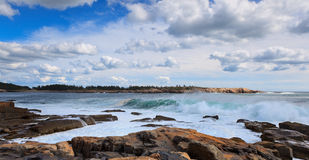 Schoodic head, ocean waves Royalty Free Stock Images