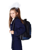 Schoogirl with backpack Stock Photo