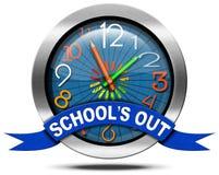 School's uit - Metaalpictogram met Klok Royalty-vrije Stock Afbeelding