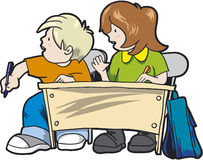 School. Boy and girl together in school Stock Image