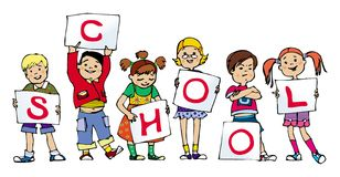 School. Group of small children holding lists of paper royalty free illustration