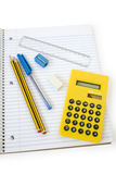 School. Pen, Pencil, calculator, paper, eraser, ruler isolated on white background Stock Image