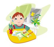 School. The child engaged in preparation for lessons, employment(occupations) at school stock illustration