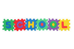 School. Word School, from letter puzzle, isolated on white background Stock Image