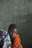 School. One boy in a school in a little African village Royalty Free Stock Images