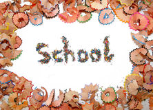 School. The word school made of cuttings in the middle of pencil shaves Royalty Free Stock Image