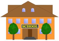 School. Building and two trees illustration