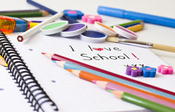 School. Things for school on white background royalty free stock photo