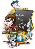 School. Cartoon Background Illustration, Bitmap Stock Photo