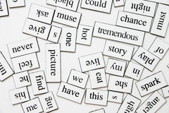 Fridge word magnets. Messy word magnets on the fridge Stock Photography