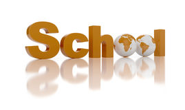 School. 3d render of conceptual school text on reflective backfround Royalty Free Stock Photo