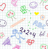 School. Baby school  seamless pattern doodles Royalty Free Stock Photo
