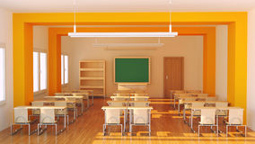 School. Render of an empty classroom Royalty Free Stock Photo