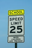 School and 25 mph sign Royalty Free Stock Photos