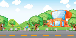 School. Illustration of empty yard and school Royalty Free Stock Photo