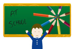 At School. School illustration with happy baby Stock Image