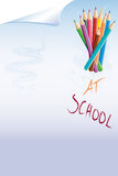 At School. Illustration school with paper and colored pencils Royalty Free Stock Photos