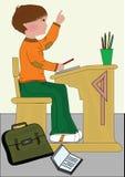 School. Boy doing school work illustration Stock Image