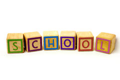 School. Word made from coloured wooden blocks Royalty Free Stock Photo