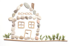A school. Made from little stones Royalty Free Stock Images