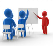 In the school. Teacher standing with pointer in hand close to board in front of student with raised hand signaling that he is ready to answer. Whiteboard is Royalty Free Stock Photos