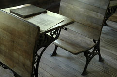 School. An old-fashioned wooden desk in a one-room school royalty free stock photos