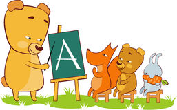 School. Bear the teacher and its pupils Stock Images