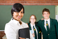 School. High school teacher and students in classroom Royalty Free Stock Photos