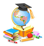School  accessories. With books and globe Stock Photography