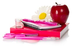 School accessories with apple and flower Royalty Free Stock Images