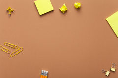 School Accessories on Brown Background Royalty Free Stock Photo