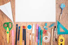 School accessories on a desk Royalty Free Stock Photo