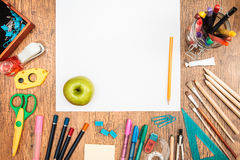 School accessories on a desk Stock Images