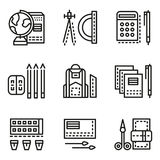 School accessories flat line icons Stock Image