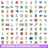 100 school accessories icons set, cartoon style. 100 school accessories icons set. Cartoon illustration of 100 school accessories vector icons isolated on white vector illustration