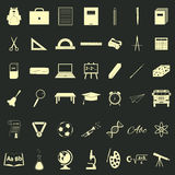 School accessories icons set Royalty Free Stock Image