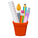 School accessories isolated in holder Royalty Free Stock Images