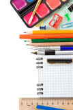 School accessories and notebook on white Royalty Free Stock Images