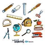 School accessories. Pictures collection Royalty Free Stock Images