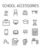 School accessories related vector icon set. Well-crafted sign in thin line style with editable stroke. Vector symbols isolated on a white background. Simple vector illustration