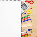 School accessories on rumpled paper. Royalty Free Stock Photo