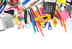 School accessories on white background. Royalty Free Stock Photos