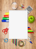 School accessories on a wooden background. royalty free stock photos