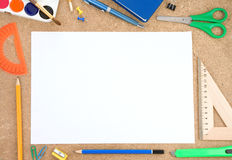 School accessory with blank sheet Royalty Free Stock Images