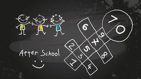After school. Activities, kids playing program. Chalk on blackboard vector concept doodle style hand drawn illustration Royalty Free Stock Images