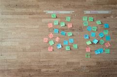 School activity on a wooden wall. School activity of colorful post it notes against a wooden wall stock images