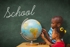 School against green chalkboard Stock Photography
