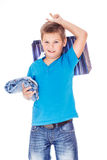 Boy holding jeans Stock Photos